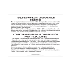 """ComplyRight State Specialty Poster, English/Spanish, Texas, Workers' Comp Coverage, 11"""" x 17"""""""
