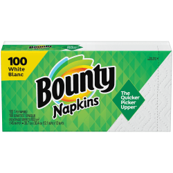 "Bounty Quilted 1-Ply Napkins, 15"" x 17"", White, Pack Of 100 Napkins"