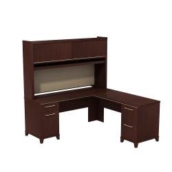 "Bush Business Furniture Enterprise 72""W x 72""D L Shaped Desk With Hutch, Harvest Cherry, Standard Delivery"