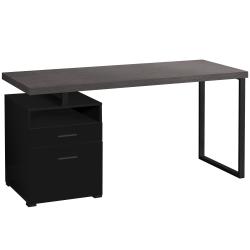 "Monarch Specialties Mark 60""W Computer Desk, Black/Gray"