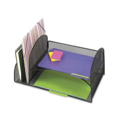 Safco Onyx Mesh Desk Organizer, Two Upright/Two Horizontal Sections