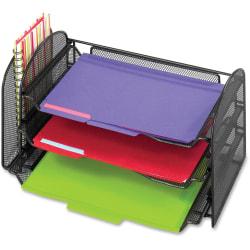 "Safco Onyx 1 Upright/3 Tray Mesh Desk Organizer - 1 Pocket(s) - 8"" Height x 17.3"" Width x 9"" Depth - Desktop - Black - 1 Each"
