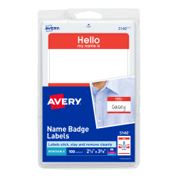 Avery® Self-Adhesive Name Badges, Hello My Name Is, Red, Pack Of 100
