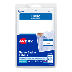 "Avery® Self-Adhesive Name Badges, Hello My Name Is, Blue, 2 Labels Per 4"" x 6"" Sheet, Pack Of 100"