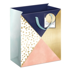 """Lady Jayne Gift Bag With Tissue Paper, Hang Tag, Vertical, Navy And Coral Color Block, 6-1/4""""H x 8-1/2""""W x 3-1/2""""D"""
