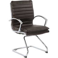 Office Star™ SPX23595C Faux Leather Mid-Back Guest Chair, Espresso