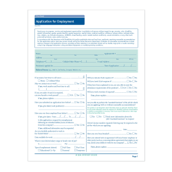 """ComplyRight State-Specific Job Applications, Washington D.C., 17"""" x 11"""", White, Pack Of 50"""