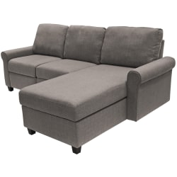 Serta® Copenhagen Reclining Sectional With Storage Chaise, Right, Gray/Espresso