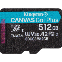 Kingston Canvas Go! Plus 512 GB Class 10/UHS-I (U3) microSDXC - 170 MB/s Read - 90 MB/s Write