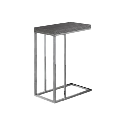 """Monarch Specialties Zachary Accent Table, 25-1/4""""H x 10-1/4""""W x 18-1/4""""D, Gray/Chrome"""