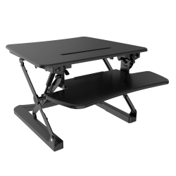 """FlexiSpot Height-Adjustable Standing Desk Riser With Removable Keyboard Tray, 27"""" W, Black"""