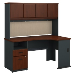 "Bush Business Furniture Office Advantage 60""W Corner Desk With Hutch And 2 Drawer Pedestal, Hansen Cherry, Standard Delivery"