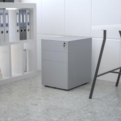 """Flash Furniture Modern 21""""D Vertical 3-Drawer Mobile Locking Filing Cabinet, Metal, Gray"""