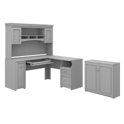 """Bush Furniture Fairview 60""""W L-Shaped Desk With Hutch And Small Storage Cabinet, Cape Cod Gray, Standard Delivery"""