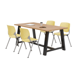 KFI Studios Midtown Table With 4 Stacking Chairs, Kensington Maple/Yellow