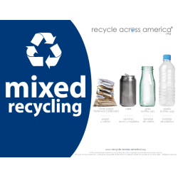"Recycle Across America Mixed Standardized Recycling Labels, MXD-8511, 8 1/2"" x 11"", Navy Blue"