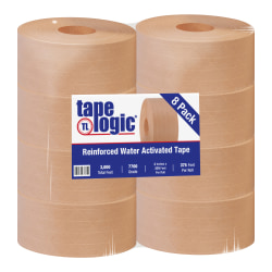 "Tape Logic® Reinforced Water-Activated Packing Tape, #7700, 3"" Core, 3"" x 125 Yd., Kraft, Case Of 8"