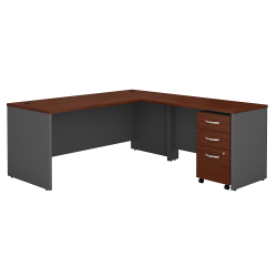 "Bush Business Furniture Components 72""W L Shaped Desk with 3 Drawer Mobile File Cabinet, Hansen Cherry/Graphite Gray, Premium Installation"