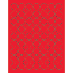 """Office Depot® Brand Labels, LL191RD, Circle, 1"""", Fluorescent Red, Case Of 6,300"""