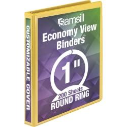 "Samsill Economy View Binder, 1"" Rings, Yellow"