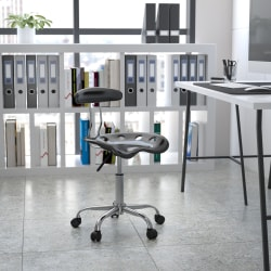 Flash Furniture Vibrant Low-Back Task Chair With Tractor Seat, Black/Chrome