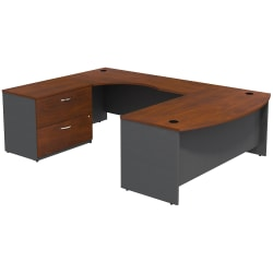 Bush Business Furniture Components Bow Front U Shaped Desk With 2 Drawer Lateral File Cabinet, Hansen Cherry/Graphite Gray, Standard Delivery