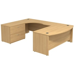 Bush Business Furniture Components Bow Front U Shaped Desk With 2 Drawer Lateral File Cabinet, Light Oak, Premium Installation