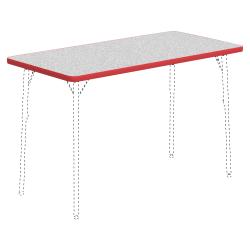 "Lorell® Classroom Rectangular Activity Table Top, 48""W x 24""D, Gray Nebula/Red"