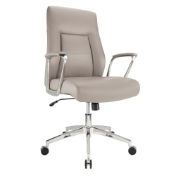 Realspace® Modern Comfort Delagio Bonded Leather Manager Mid-Back Chair, Taupe/Silver