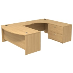 Bush Business Furniture Components Bow Front U Shaped Desk With 2 Drawer Lateral File Cabinet, Light Oak, Standard Delivery