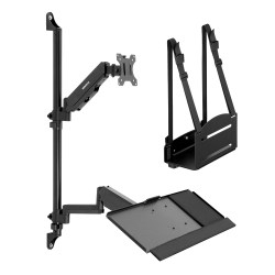 """Mount-It! MI-7991 Wall-Mount Workstation With Monitor Mount, Keyboard Tray And CPU Holder, 12""""H x 41""""W x 7""""D, Black"""
