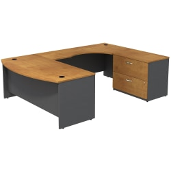 Bush Business Furniture Components Bow Front U Shaped Desk With 2 Drawer Lateral File Cabinet, Natural Cherry/Graphite Gray, Premium Installation