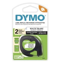 """DYMO® LT 10697 Black-On-White Tape, 0.5"""" x 13', Pack Of 2"""