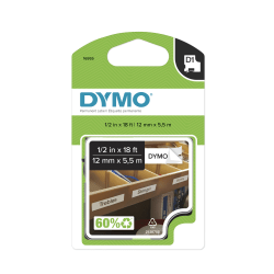 "DYMO® 16955 Black-On-White Permanent Polyester Tape, 0.5"" x 18'"