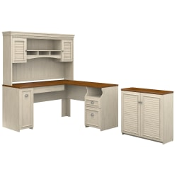 """Bush Furniture Fairview 60""""W L Shaped Desk With Hutch And Small Storage Cabinet, Antique White/Tea Maple, Standard Delivery"""