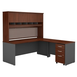 "Bush Business Furniture Components 72""W L Shaped Desk with Hutch and 3 Drawer Mobile File Cabinet, Hansen Cherry/Graphite Gray, Premium Installation"