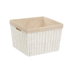 "Honey-Can-Do Paper Rope Basket With Lining, 13"" x 15"" x 10"", White"