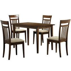 Monarch Specialties Anthony Dining Table With 4 Chairs, Walnut