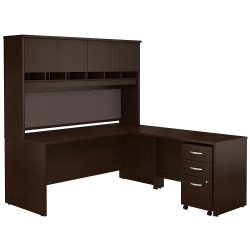 """Bush Business Furniture Components 72""""W L Shaped Desk with Hutch and 3 Drawer Mobile File Cabinet, Mocha Cherry, Premium Installation"""