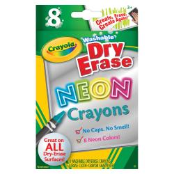 Crayola Washable DryErase Neon Crayons - Neon Assorted - 8 / Box