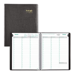 """Brownline® EcoLogix Weekly Planner,  11"""" x 8-1/2"""", 100% Recycled, Black, January to December 2020"""