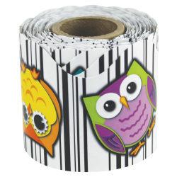 """Carson-Dellosa Colorful Owls Scalloped Border - Fun Theme/Subject (Scalloped) Shape - Colorful Owls - 2.25"""" Width x 432"""" Length - Multicolor - 1 Roll"""