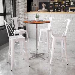 Flash Furniture 30'' Round Wood Cocktail Table with 30'' and 42'' Columns, Natural