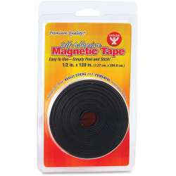 """Hygloss Self-adhesive Magnetic Tape - 10 ft Length x 0.50"""" Width - 1 Each - Black"""