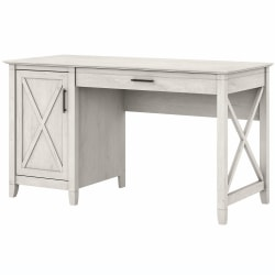 """Bush Furniture Key West 54""""W Computer Desk With Keyboard Tray And Storage, Linen White Oak, Standard Delivery"""