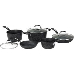 """Starfrit The Rock 8-Piece Cookware Set with Bakelite Handles - 1.5 quart Saucepan, 3 quart Saucepan, 5 quart Stockpot, 8"""" Diameter Frying Pan, 10"""" Diameter Frying Pan, Lid - Aluminum Base, Plastic, Cast Stainless Steel - Cooking, Frying, Broiling"""