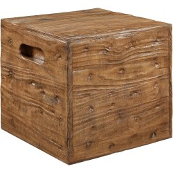 "Powell Munroe Crate Side Table, 17"" x 18"", Ash"