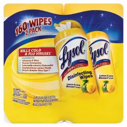 """Lysol® Disinfecting Wipes, Lemon & Lime Blossom®, 7"""" x 8"""", White, 80 Sheets Per Canister, Pack Of 2 Canisters"""