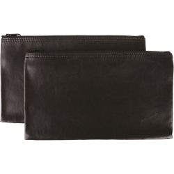 """Business Source Carrying Case (Wallet) Money, Receipt, Office Supplies, Check - Black - Polyvinyl Chloride (PVC) - 6"""" Height x 11"""" Width"""