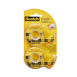 "Scotch® 237 Permanent Double-Sided Tape, 3/4"" x 300"", Clear, Pack of 2 rolls"